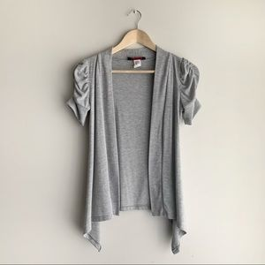 Seductions Grey Open Cardigan, Ruched Sleeves, XS